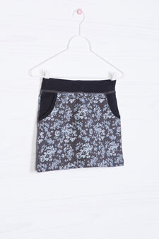 100% cotton patterned skirt, Grey, hi-res