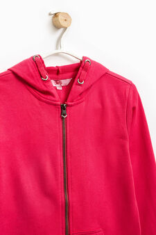 Solid colour 100% cotton sweatshirt, Strawberry Red, hi-res