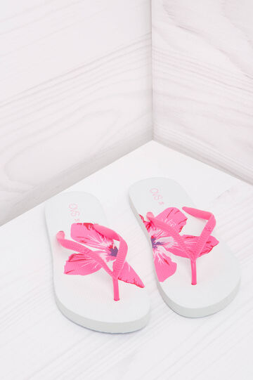 Printed thong sandals., Fuchsia, hi-res