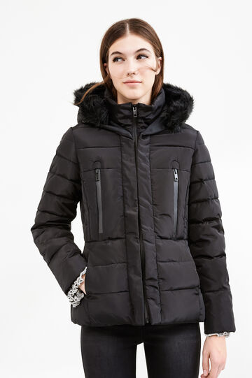 Down jacket with hood and fur, Black, hi-res