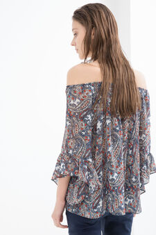 Printed blouse with boat neck, Multicolour, hi-res