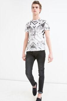 T-shirt in cotone con fantasia, Bianco/Nero, hi-res