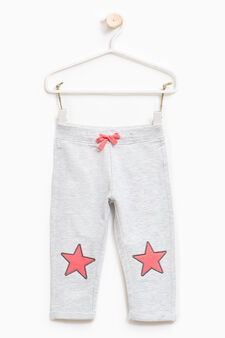 Stretch cotton trousers with stars patch, Grey Marl, hi-res