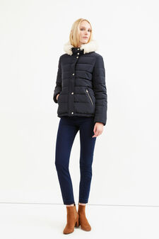 Down jacket with fur and drawstring, Navy Blue, hi-res