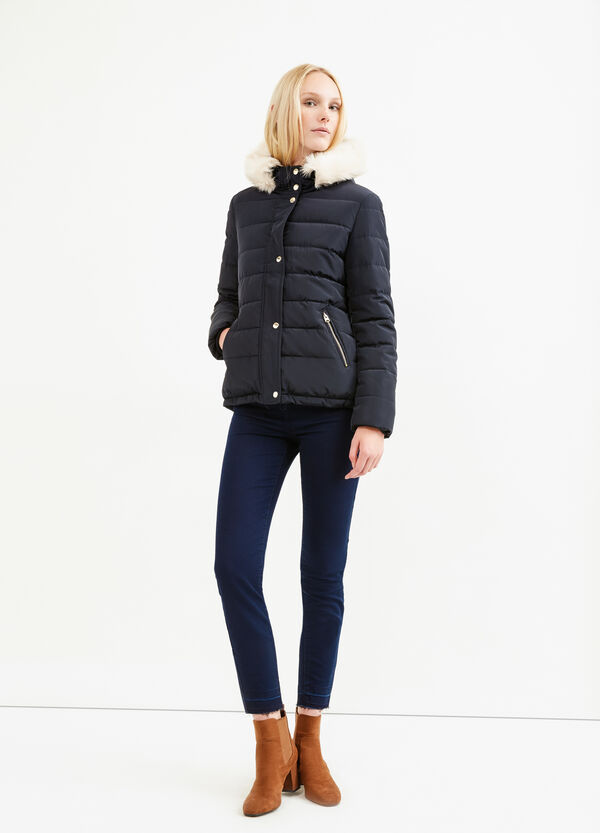 Down jacket with fur and drawstring | OVS
