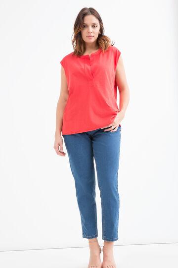 T-shirt cotone tinta unita Curvy, Rosso, hi-res