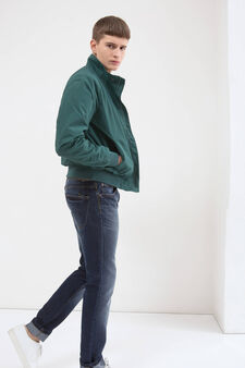 Solid colour jacket with high neck., Green, hi-res