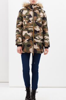 Piumino camouflage con cappuccio, Verde militare, hi-res
