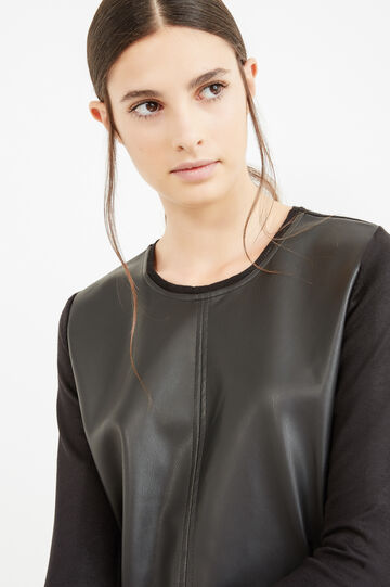 Solid colour dress with three-quarter sleeves, Black, hi-res