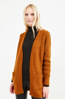 Solid colour chunky knit cardigan, Tobacco Brown, hi-res