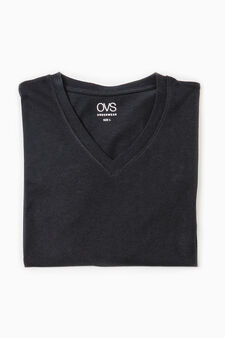 V-neck cotton undershirt, Black, hi-res