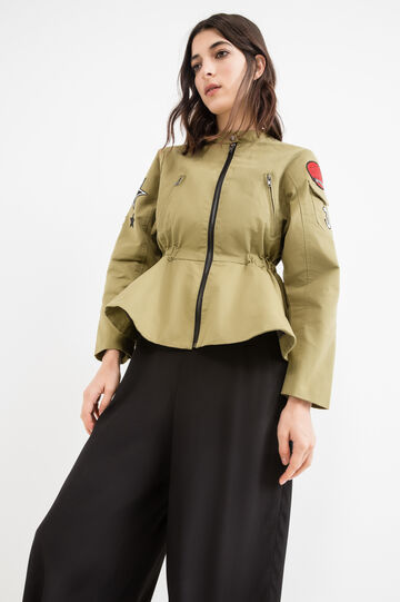 Solid colour jacket with patches, Army Green, hi-res