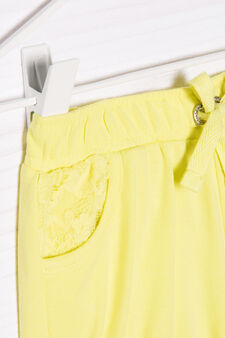 Stretch cotton shorts with diamanté trim, Yellow, hi-res