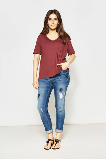 Curvy T-shirt with trim