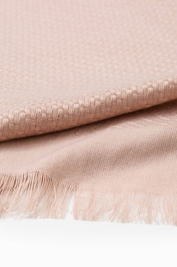 Knitted scarf with fringed edges, Pink, hi-res