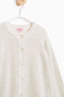 Viscose and wool knitted cardigan, Milky White, hi-res
