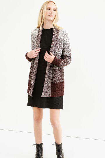 Long cardigan with striped pattern, Aubergine, hi-res
