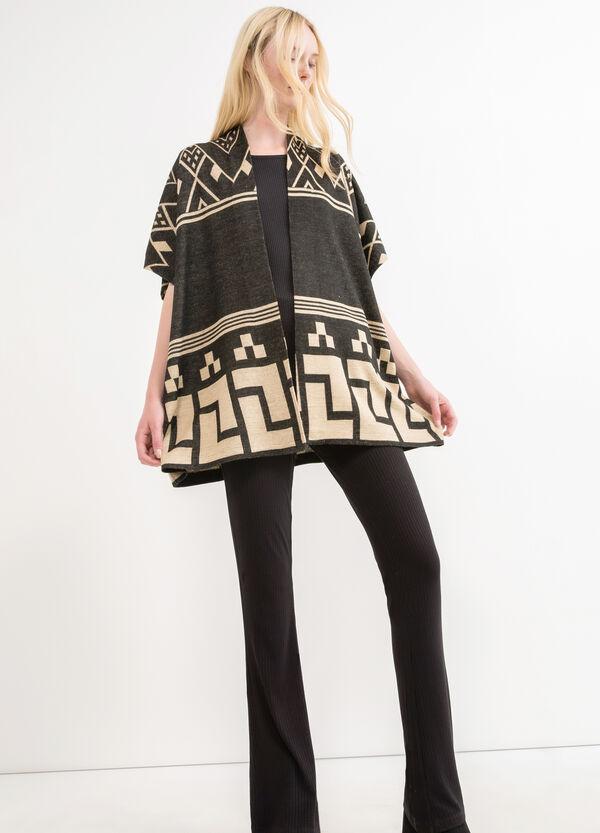 Wool blend poncho with geometric pattern | OVS