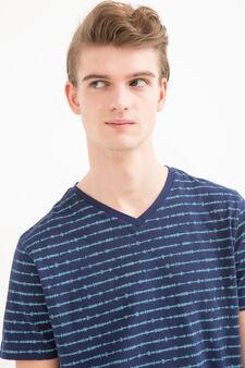 Printed T-shirt in 100% cotton, Indigo Blue, hi-res