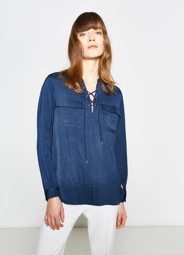 Blusa con escote de pico y lazada | OVS