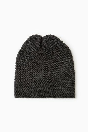 Cappello a cuffia tricot maglia larga, Grigio melange, hi-res