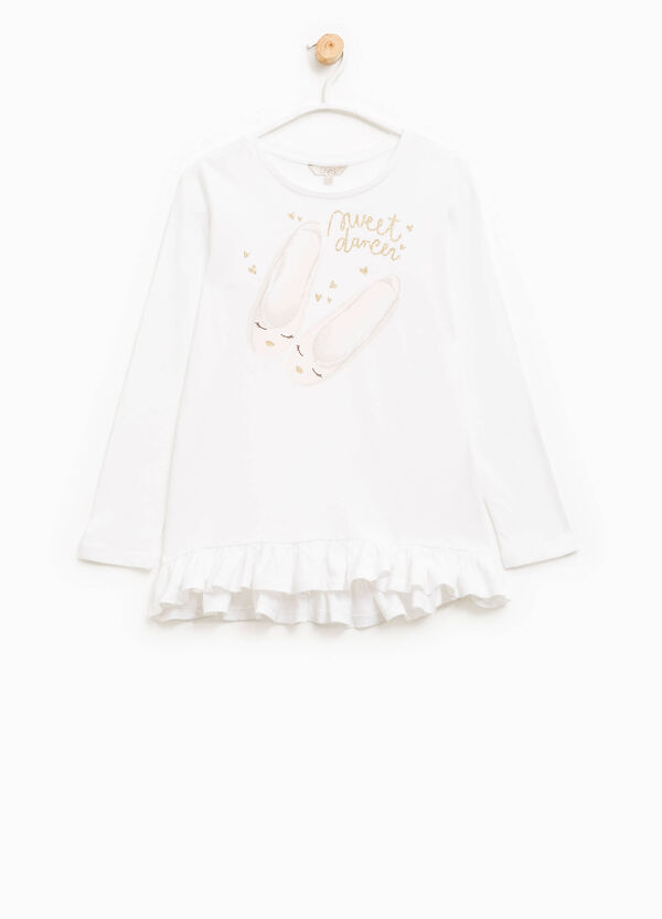 Cotton T-shirt with flounced hem | OVS
