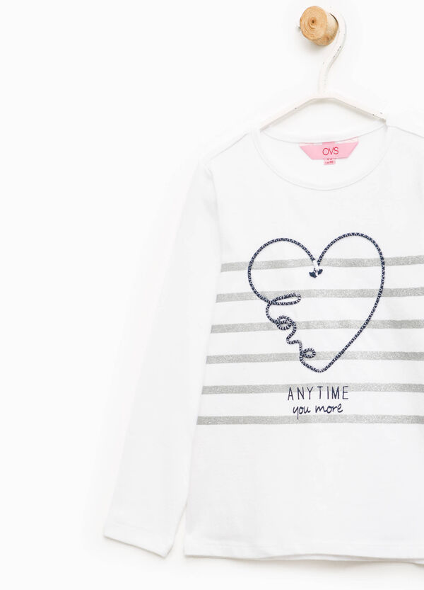 Striped T-shirt with heart embroidery | OVS