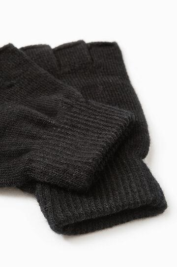 Fingerless gloves, Black, hi-res