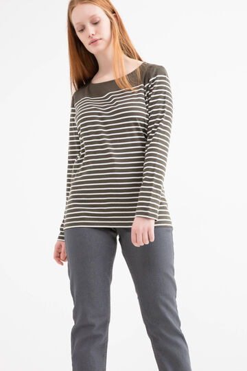 Curvy striped T-shirt in 100% cotton, Green, hi-res