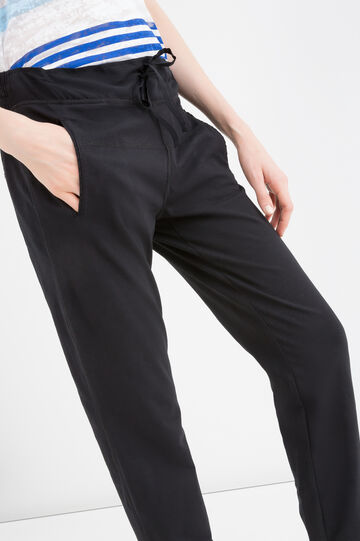 Stretch cotton trousers with drawstring., Black, hi-res