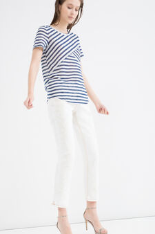 Stretch T-shirt with striped pattern, White/Blue, hi-res