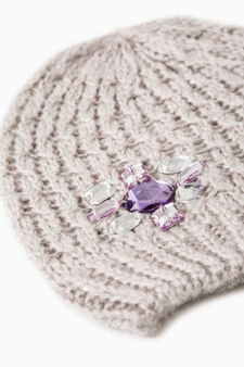 Knitted beanie cap with diamantés, Grey, hi-res