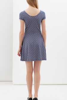 Short dress with rounded neck, Blue, hi-res