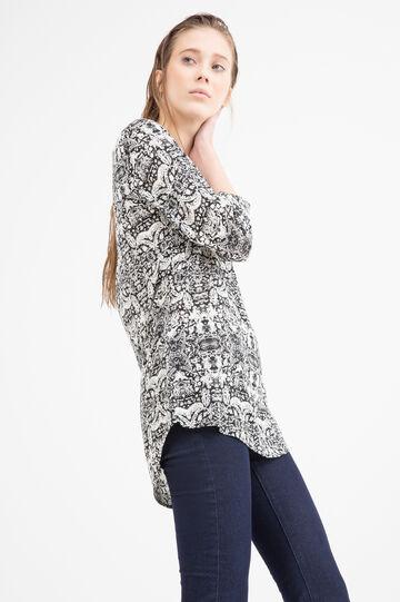 Printed blouse in 100% viscose, Black, hi-res