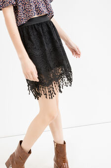 High waist openwork skirt, Black, hi-res