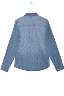 Patterned shirt in 100% cotton, Soft Blue, hi-res