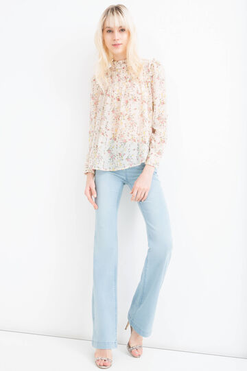 Floral blouse with frills, Milky White, hi-res