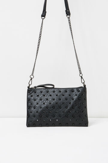 Clutch bag with chain shoulder strap and studs, Black, hi-res