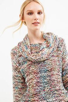 Pullover tricot maglia larga collo alto, Nero, hi-res