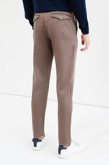 Solid colour stretch chino trousers, Mud Brown, hi-res