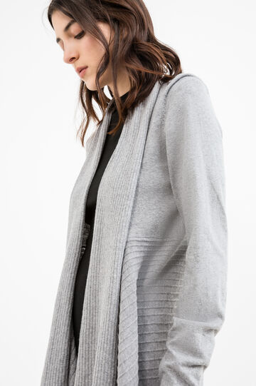 Long cardigan with shawl neck, Grey, hi-res