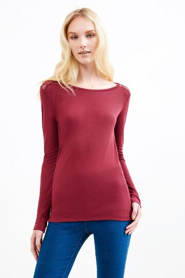 T-shirt maniche lunghe e pizzo, Viola melanzana, hi-res