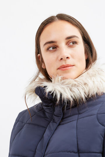 Curvy high neck parka with fur, Blue, hi-res