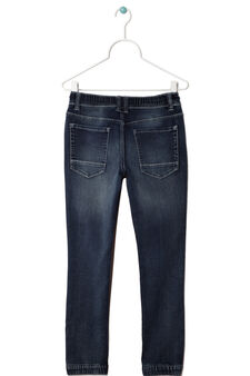 Jeans stretch used con coulisse, Blu denim, hi-res