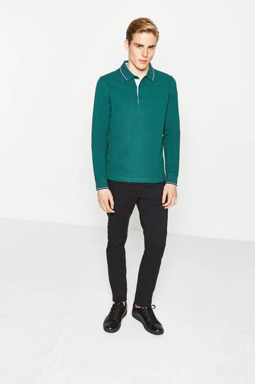 Polo in puro cotone profili a contrasto, Verde, hi-res