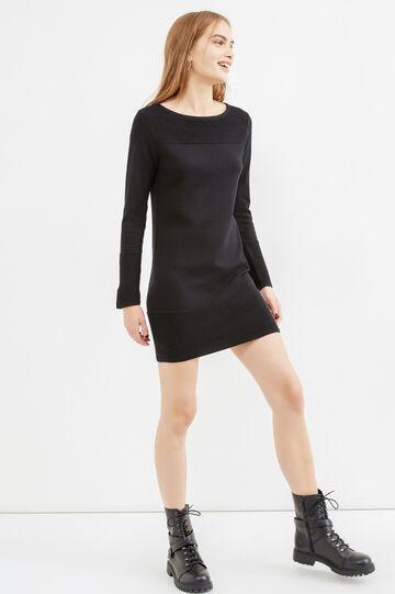 Viscose and cotton dress with ribbing, Black, hi-res