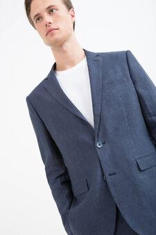 Giacca regular fit in puro lino, Blu, hi-res
