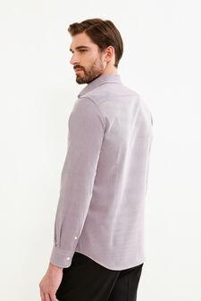 Camicia formale slim fit fantasia a righe, Rosso scuro, hi-res