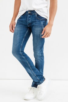 Slim fit, worn-effect jeans with abrasions, Medium Wash, hi-res