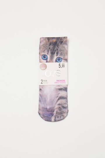 Two-pair pack stretch socks with print, Black/Pink, hi-res